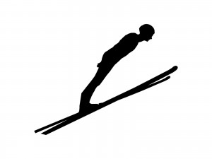 ski jumpers also need to lean forward yet look where they're going.